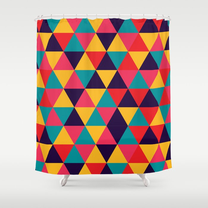 colorful triangles bright colors shower curtain - Colorful Shower Curtains