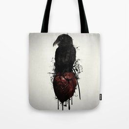 Raven and Heart Grenade Tote Bag