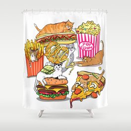 Cats & Junk Food Shower Curtain