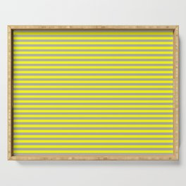 Yellow and Gray Vintage Thin Stripes Serving Tray
