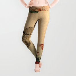 Hokusai,Hawfinch and mirabilis - manga, japan,hokusai,japanese,北斎,ミュージシャン Leggings