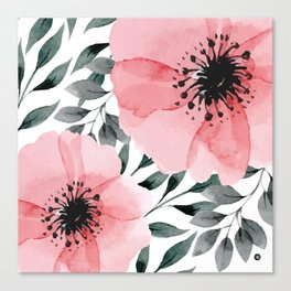 Big Watercolor Flowers Canvas Print