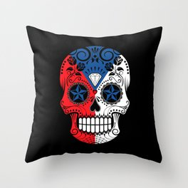 Sugar Skull with Roses and Flag of Czech Republic Throw Pillow
