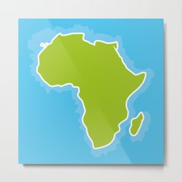map of Africa Continent and blue Ocean. Vector illustration Metal Print
