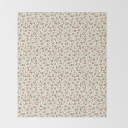 Shabby Chic Roses on Green Throw Blanket