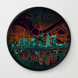 louisville skyline abstract 2 Wall Clock