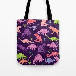 Purple Pink Watercolor Dinosaur Silhouette Pattern Tote Bag