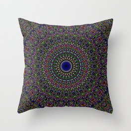 Colorful Sacred Kaleidoscope Mandala Throw Pillow