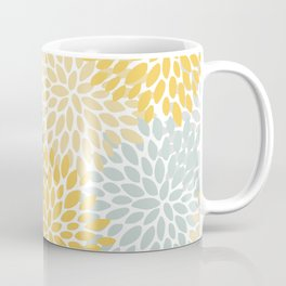 Floral Pattern, Yellow, Pale, Aqua, Blue and Gray Coffee Mug
