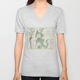 Vintage Map of The Chesapeake Bay (1857) Unisex V-Neck