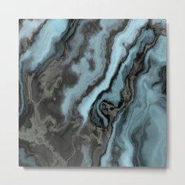 Smokey Teal Grey Marble Metal Print