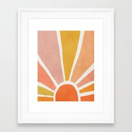 Sun, Mid century modern kids wall art, Nursery room Framed Art Print