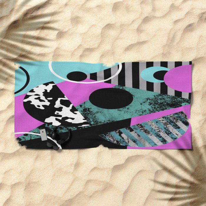 Bits N Pieces - Abstract, geometric, stripes, textured, pastel, blue, pink, black Beach Towel