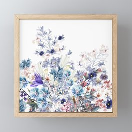 Light floral vector illustration with spring and summer field flowers  Framed Mini Art Print