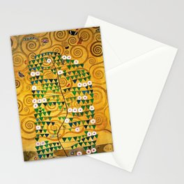Gustav Klimt Golden Tree of Life with Jewels stoclet frieze portrait floral painting Stationery Cards