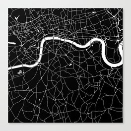 Black on White London Street Map II Canvas Print