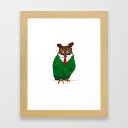 Owl in suit Framed Art Print