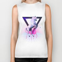 the last unicorn Biker Tanks featuring The last laser unicorn by Robert Farkas