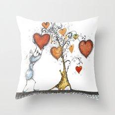Tree of hearts Throw Pillow