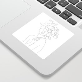 Minimal Line Art Woman with Orchids Sticker