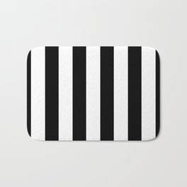 Simply Vertical Stripes in Midnight Black Bath Mat