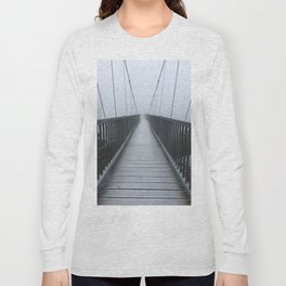 The Swinging Bridge in Fog on a Mountain Long Sleeve T-shirt