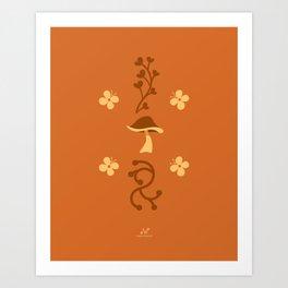 Mushroom Meadow, Enchanted Garden     Orange, Brown Art Print