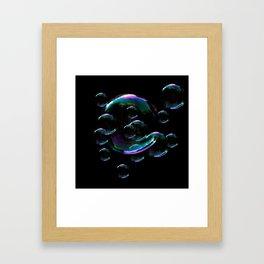 IRIDESCENT SOAP BUBBLES  BLACK COLOR Framed Art Print