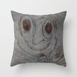 Wood Art Smily Throw Pillow