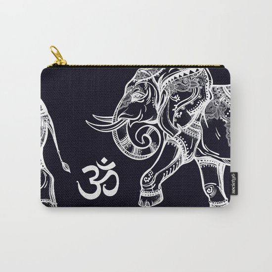 Elephants Pattern on Black Carry-All Pouch