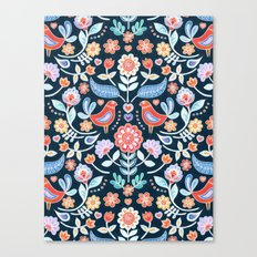 Happy Folk Summer Floral on Navy Canvas Print