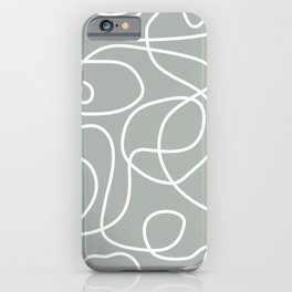 Doodle Line Art Pattern | White on Medium Gray Green iPhone Case