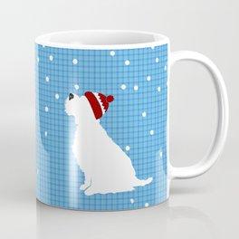 Schnauzer Dog in snow, christmas time Coffee Mug