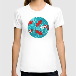 Japanese Circle 6 Koi fishes in pond T-shirt
