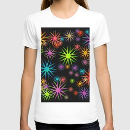 Bright and colorful fireworks and salute of different colors in the night sky. T-shirt