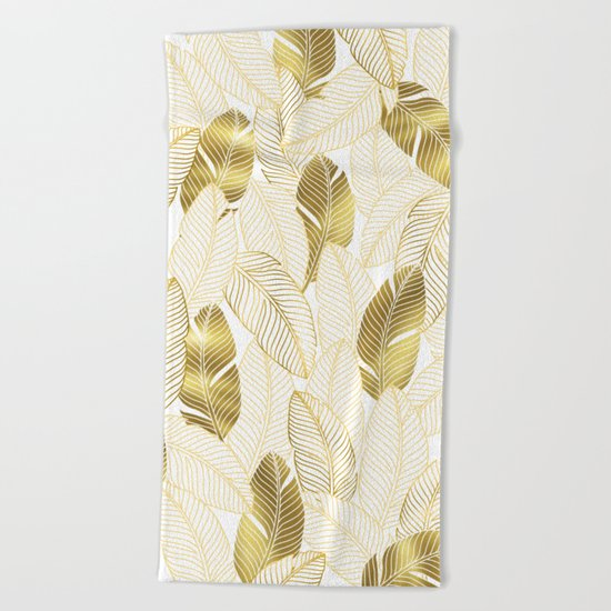 Gold tropical leaves pattern Beach Towel