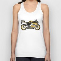 honda Tank Tops featuring Honda CBR1000 & Old Newspapers by Larsson Stevensem