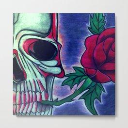 Skull & Red Rose Metal Print