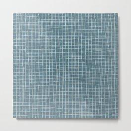 Grey threads on teal Metal Print