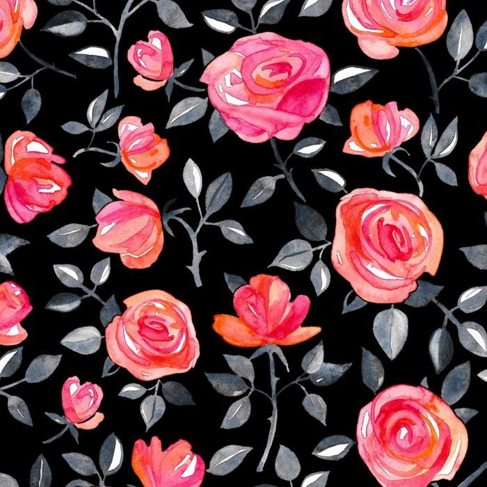 Roses on Black - a watercolor floral pattern Leggings