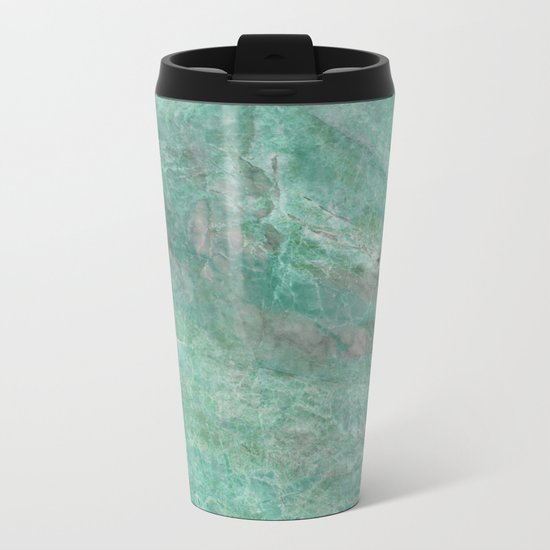 Mossy Woods Green Marble Metal Travel Mug