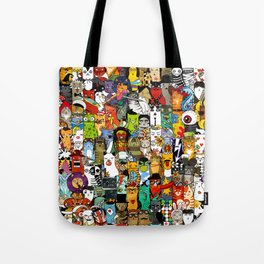 Funny Characters Collage — Culture & Science By Cats Tote Bag