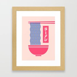 Ramen Japanese Food Noodle Bowl Chopsticks - Salmon Framed Art Print