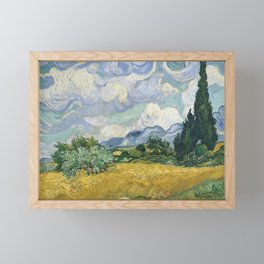 Wheat Field with Cypresses by Vincent van Gogh Framed Mini Art Print