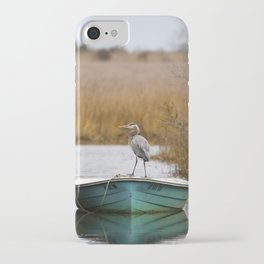 Great Blue Heron on Fishing Boat iPhone Case