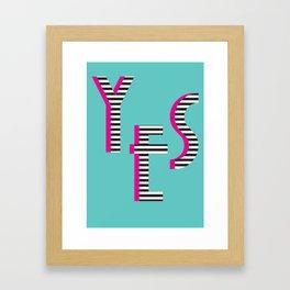 YES Poster | Mint Stripe Pattern Framed Art Print