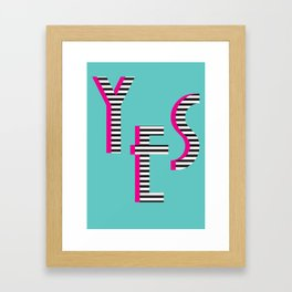 YES Poster | Mint Stripe Pattern Framed Art Print