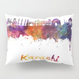 Karachi skyline in watercolor Pillow Sham