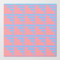 Pink Blue Peach Houndstooth /// www.pencilmeinstationery.com Canvas Print