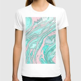 Girly Modern Pink Teal Green Smoky Marble Pattern T-shirt
